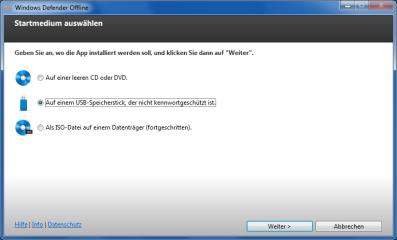 Windows Defender Offline erstellt ein Live-System auf CD/DVD oder USB-Stick, das PCs bootet und nach Schädlingen durchsucht.