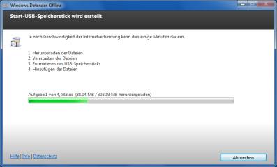 Herunterladen: Mehr als 300 MByte umfasst der Download zur Installation von Windows Defender Offline.