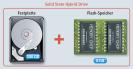 Festplatte mit Flash-Speicher: Eine Hybridfestplatte kombiniert zwei Speichertechniken in einem Laufwerk. Der langsame Magnetspeicher fasst bei aktuellen Modellen zwischen 320 und 2000 GByte, der schnelle Flash-Speicher nur 8 GByte.