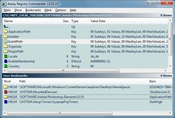 Registry Commander ist ein Editor für die Windows-Registry, der die Navigation vereinfacht und das Anlegen von Bookmarks ermöglicht.