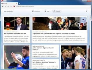 Hinter dem Reiter Discover verbirgt sich ein umfangreicher Newsreader, der Ihnen Zugang zu aktuellen Neuigkeiten aus den verschiedensten Ländern und Themengebieten liefert.