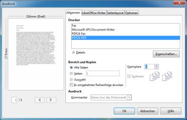 Nach der Installation erscheint PDF24 Creator auch im Kontextmenü der Druckoptionen.