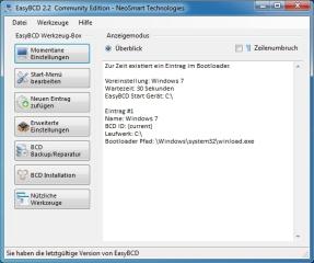 Auf dem Startbildschirm von EasyBCD werden sämtliche Boot-Einträge übersichtlich aufgelistet.