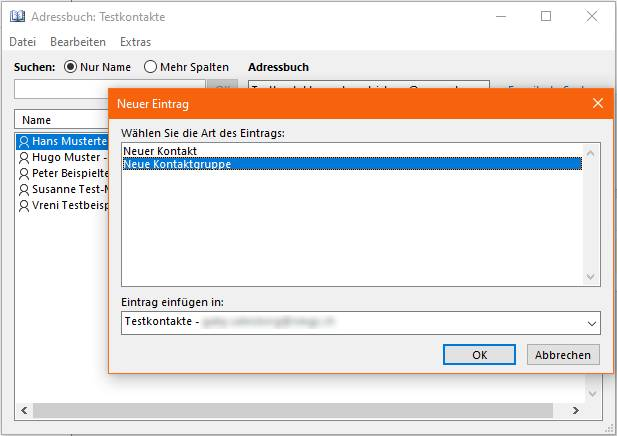 Outlook-Screenshot der Adressbuch-Bedienelemente