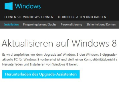 Upgrade auf Windows 8