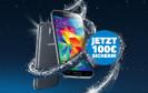 Samsung bietet Käufern eines Galaxy S5 bis zum 06.12.2014 satte 100 Euro Rabatt. Die Cachback-Aktion gilt auch für Geräte, die bei Vertragsabschluss oder Vertragsverlängerung erworben werden.