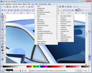 Inkscape verwendet das Dateiformat SVG (Scalable Vector Graphics). Importieren lassen sich aber auch Postscript, EPS, JPEG, PNG und TIFF. Die Exportfunktion beherrscht PNG-Bilder und verschiedene vektorbasierte Formate.