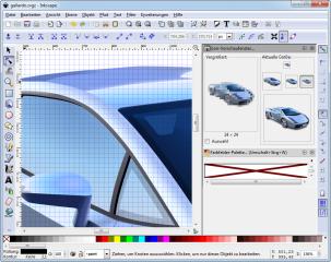 Das Zeichenfenster ist bei Inkscape an allen Seiten von Werkzeugleisten eingerahmt. Ganz oben befindet sich eine Befehlsleiste, darunter die Werkzeugeinstellungsleiste. Links sind die Zeichenwerkzeuge, rechts finden Sie eine Reihe von Kontrollwerkzeugen f