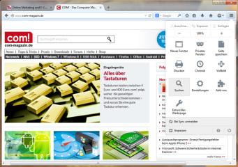 Aufgehübscht: In der Version 29 erhielt der beliebte Open-Source-Browser eine optische Runderneuerung. Auffälligste Merkmale sind die abgerundeten Tabs und das neue, anpassbare Kachelmenü.