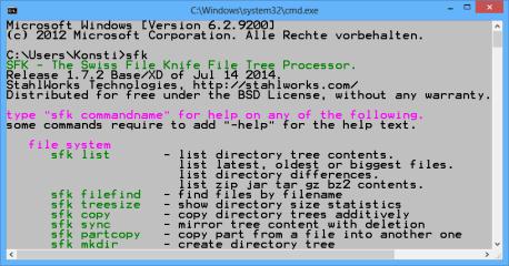 """Swiss File Knife: Der Befehl """"sfk"""" ohne Parameter zeigt rund 100 Tools des Pakets samt Beschreibung an."""