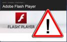 Adobe Flash Player mit Warnschild