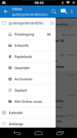 Android Outlook App Verzeichnis