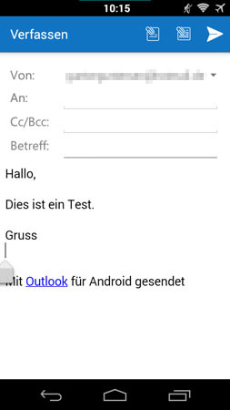Android Outlook App E-Mails Verfassen