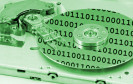 Festplatte mit Binärcode
