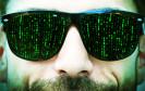 Mann mit Matrix-Brille
