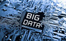 Big Data Schriftzug mit Datenbahnen
