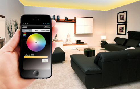 smartphone steuert led streifen per app com professional. Black Bedroom Furniture Sets. Home Design Ideas