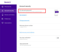 Yahoo On-Demand Passwords