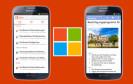 Samsung-Smartphone und Microsoft Logo
