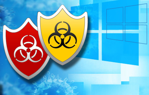 Windows 8 Logo mit Antivirus-Symbolen