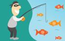 Phishing - Mann mit Angel und Fischen