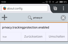 Tracking Protection unter Android
