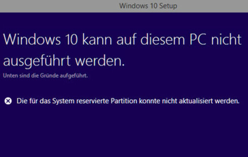 Update-Fehler bei Windows 10