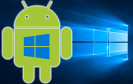 Android-Roboter mit Windows-Logo