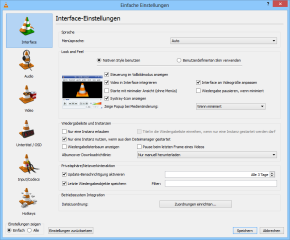 """Die Konfiguration des VLC Media Players erreichen Sie über """"Extras, Einstellungen"""" beziehungsweise mit der Tastenkombination [Strg P]."""