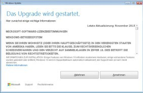 Upgrade-Start auf Windows 10
