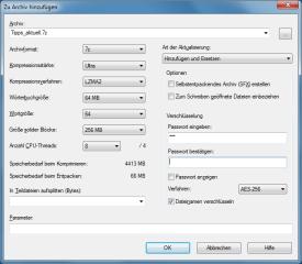 Je nach Kompressionsverfahren stehen zahlreiche Archiv-Optionen zur Verfügung