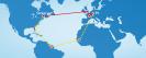 Datenautobahn: Eine laut Speedtest schnelle Internetverbindung ist keine Garantie:Wenn die Hauptverbindungen zwischen den Kontinenten überlastet sind (rot), dann machen Ihre Daten oft große Umwege (gelb).