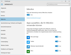 Windows 10 App-Berechtigungen
