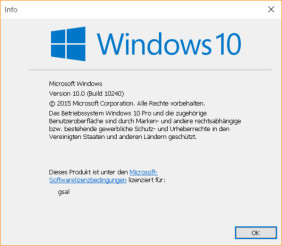 Versionsnummer von Windows 10