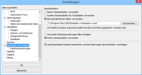 """Die Konfiguration des FTP-Clients erreichen Sie mit """"Bearbeiten, Einstellungen..."""".  Hier lässt sich unter """"Bearbeiten von Dateien"""" beispielsweise Notepad++ als Standard-Editor konfigurieren."""