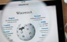 Website von Wikipedia durch eine Lupe