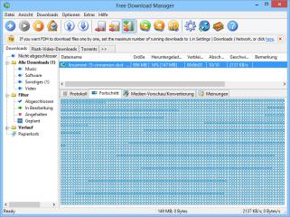 Der Free Download Manager nutzt Spiegel-Server im Internet und beschleunigt dadurch vor allem große Downloads.