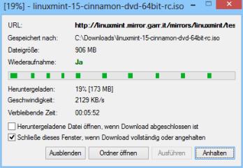In der Fortschrittanzeige des Downloads sehen Sie, dass der Free Download Manager von jedem genutzten Download-Server ein anderes Teilstück der gewünschten Datei anfordert.