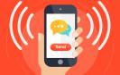 Messenger App auf Smartphone kommuniziert mit Kunden