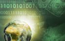 Digitale Weltkugel und Geld
