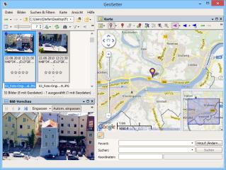 Laden Sie Ihre Bilder und klicken Sie dann links oben im Datei-Browser eines der Bilder an, zeigt Geosetter rechts in der Kartendarstellung den jeweiligen Aufnahmeort.