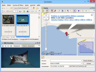 Wenn Ihre Kamera keine Geodaten in den EXIF-Daten Ihrer Fotos ablegt, dann lassen sie sich mit Geosetter nachträglich einfügen. Dazu suchen Sie in der Kartendarstellung den Aufnahmeort, setzen mit einem Mausklick einen roten Positionsmarker und übernehmen