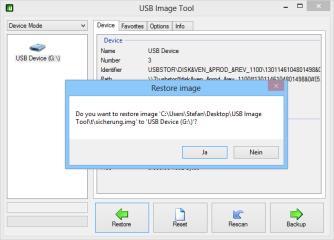 """Wenn Sie ein Backup wieder herstellen möchten, dann stecken Sie den Stick ein, starten USB Image Tool, markieren den Stick und klicken Sie auf """"Restore""""."""