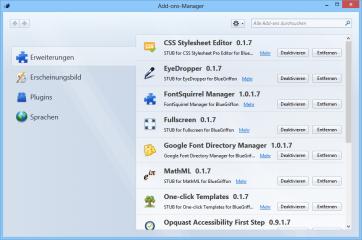 Die Add-on-Verwaltung von BlueGriffon dürfte Ihnen bekannt vorkommen, da der Webeditor auf Techniken basiert, die auch der Webbrowser Firefox und der E-Mail-Client Thunderbird nutzen.