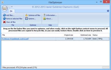 """FileOptimizer verkleinert zahlreiche Dateiformate ohne wahrnehmbare Qualitätsverluste. Ziehen Sie die zu verkleinernden Dateien einfach in das Programmfenster und klicken Sie dann auf """"Optimize all files""""."""