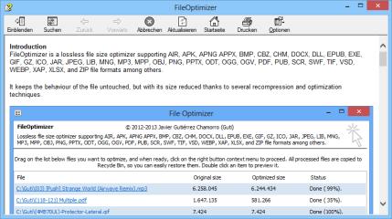 Diesen Hilfetext erreichen Sie aus dem FileOptimizer heraus mit einem Klick auf das blaue Symbol mit dem Fragezeichen oben rechts.