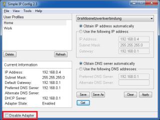 """Im """"Advanced Mode"""" lässt sich der ausgewählte Netzwerkadapter mit einem Klick deaktivieren"""