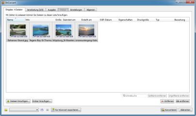 Dateien, die Sie mit XnConvert bearbeiten möchten, ziehen Sie einfach per Drag and Drop aus einem Verzeichnis in das Programmfenster des Tools. Sie können auch einen ganzen Ordner hinzufügen.