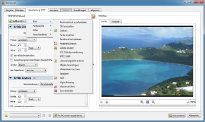 XnConvert hat 79 unterschiedliche Korrektur- und Filteroptionen, die sich teilweise noch justieren und konfigurieren lassen. Die Wirkung jeder Option sehen Sie in einem Vorschaubild auf der rechten Seite.