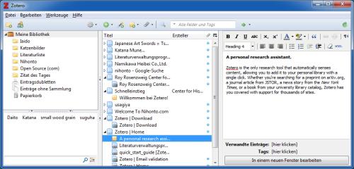 Zotero verwaltet Quellen, Notizen und Anhänge in einem übersichtlichen Interface